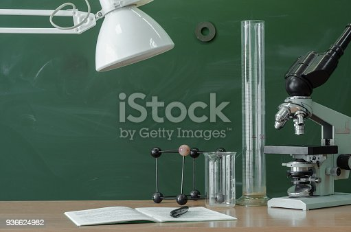 874157676 istock photo Education background with copy space. Student or teacher desk table. Biology or chemistry Classroom. 936624982