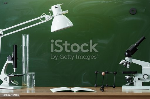 istock Education background with copy space. Student or teacher desk table. Classroom. 936626554