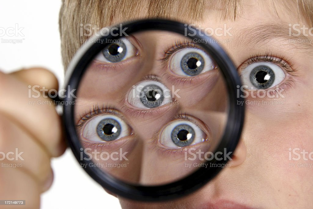 Education: Boy, child student learning about prisms. Elementary science class. royalty-free stock photo