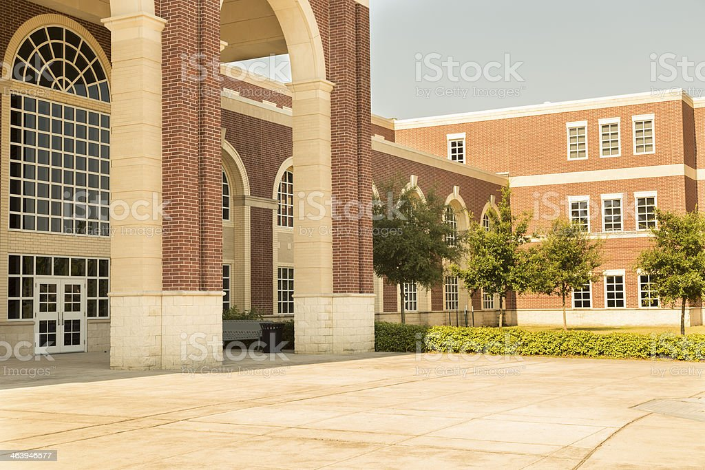 Education: College or high school campus entrance. Building. stock photo