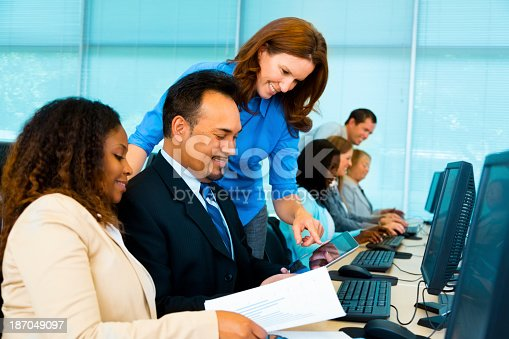istock Education: College students in computer training class. 187049097
