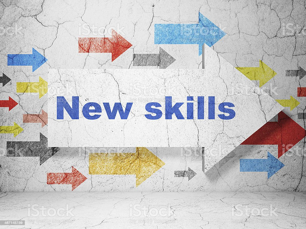 Education concept: arrow with New Skills on grunge wall background stock photo