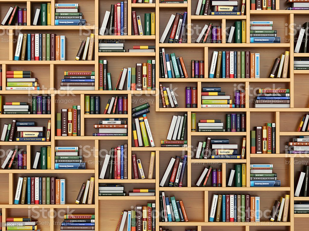 Education concept. Books and textbooks on the bookshelf. stock photo