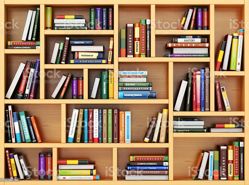 Bppks And Textbooks On The Bookshelf Royalty Free Stock Photo
