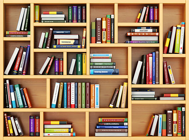 Education concept. Bppks and textbooks on the bookshelf. stock photo