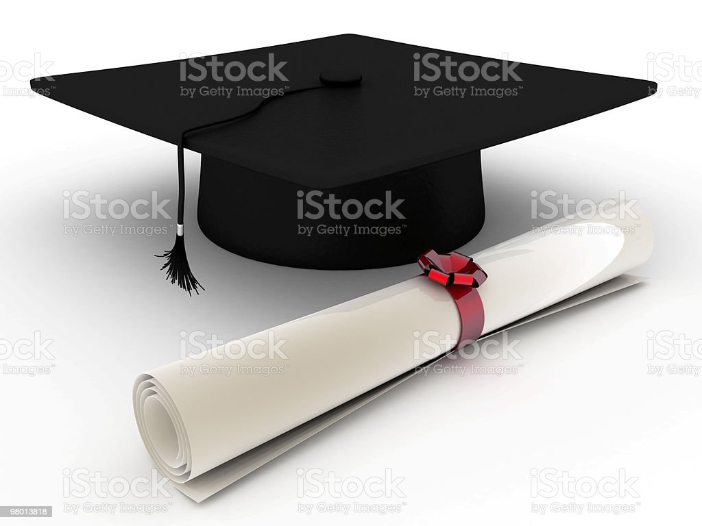 Education Concept. Diploma and Cap royalty-free stock photo