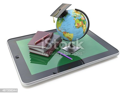 istock Education concept. E-learning. Globe and stack of books on digit 487358344