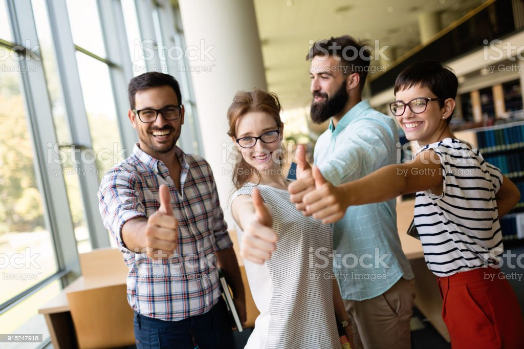 education concept - happy team of students stock photo