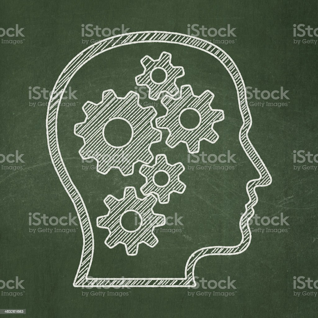 Education concept: Head With Gears on chalkboard background foto