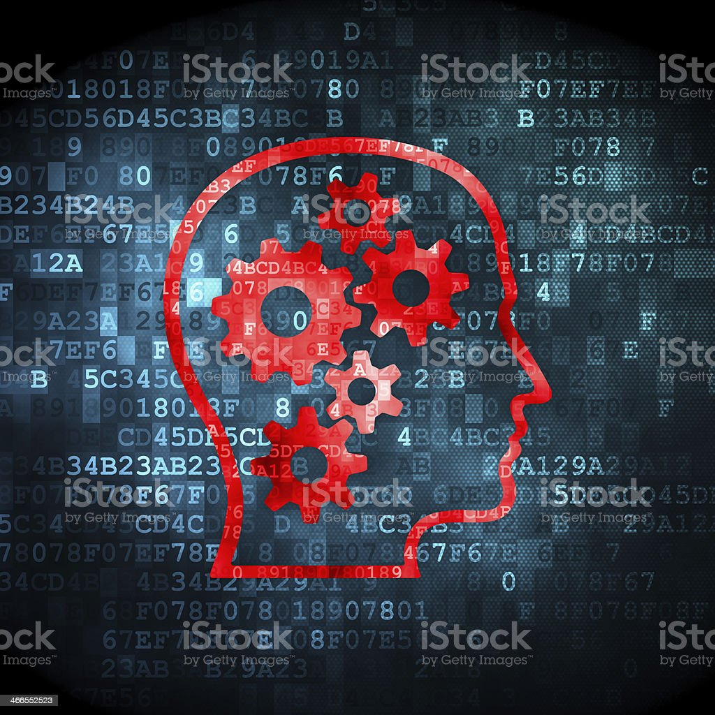 Education concept: Head With Gears on digital background stock photo