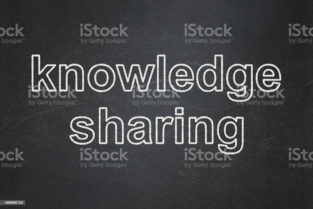 text Knowledge Sharing on Black chalkboard background, 3d render