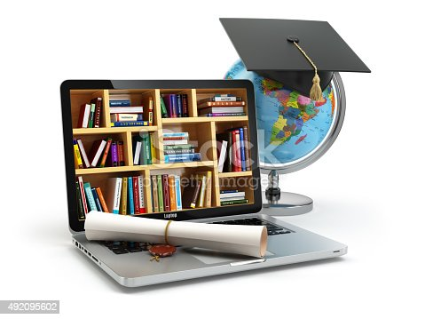 istock Education concept. Laptop with books, globe, graduation cap and 492095602