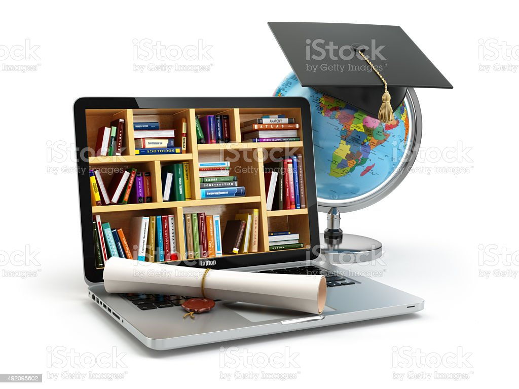 Education concept. Laptop with books, globe, graduation cap and stock photo