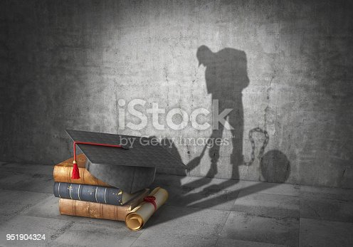 istock Education concept. Learning to be a slave. Book with diploma cast shadow in form of working slave. 3d illustration 951904324