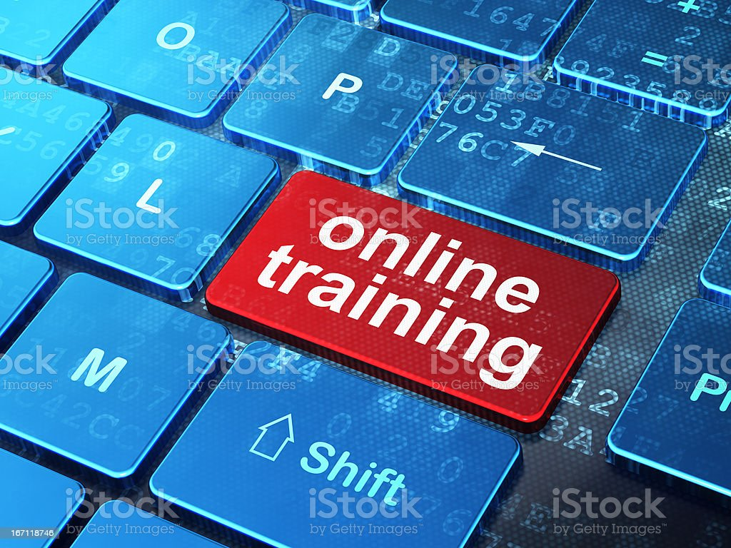 Education concept: Online Training on computer keyboard backgrou royalty-free stock photo