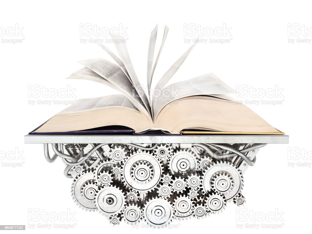 Education concept. Open book lying on the mechanism. 3d illustration royalty-free stock photo