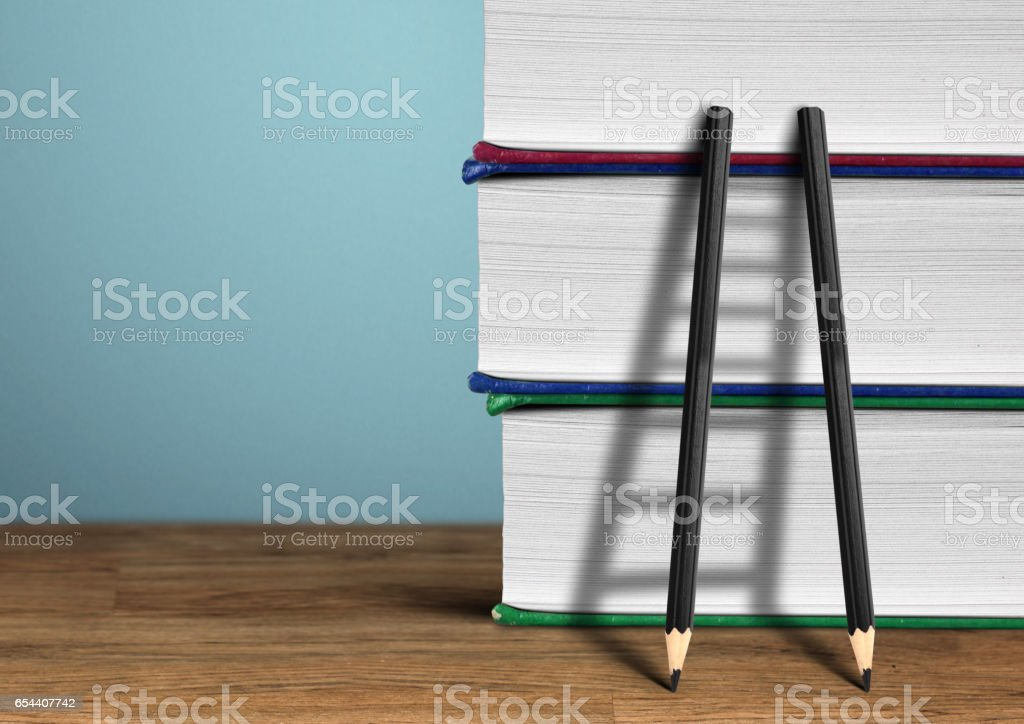 Education concept, pencil Ladder and books stock photo
