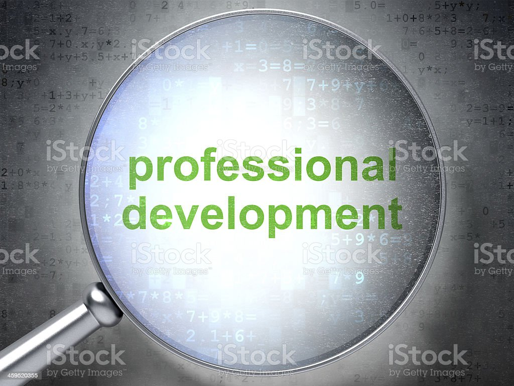 Education concept: Professional Development with optical glass stock photo