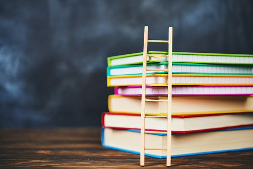 istock Education Concept. Stack of books with ladder 1083952222