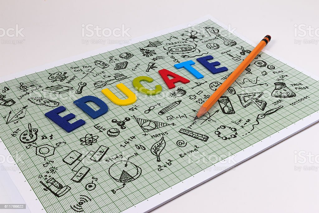 Education concept thinking doodles icons set. stock photo