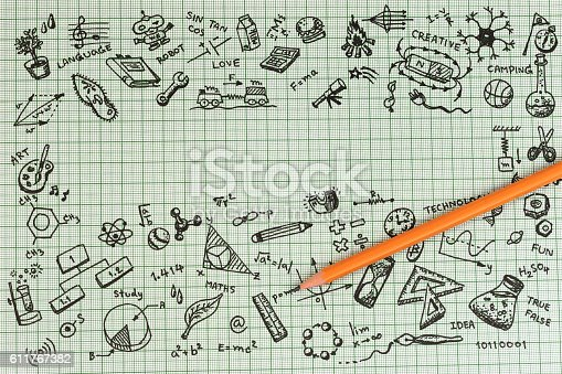 istock Education concept thinking doodles icons set with copyspace. 611767382