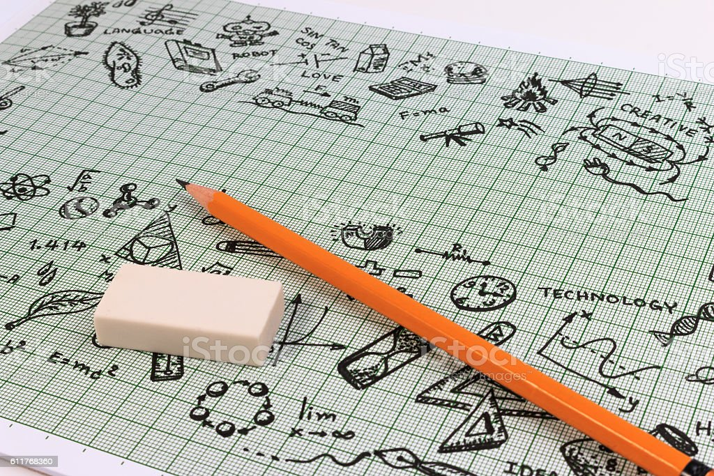 Education concept thinking doodles icons set with copyspace. stock photo