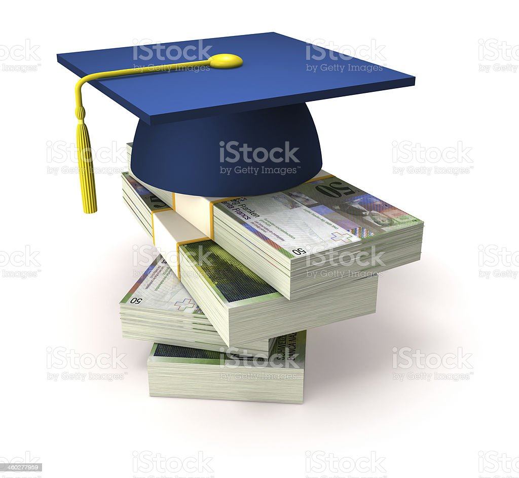 Education costs and Swiss Francs royalty-free stock photo