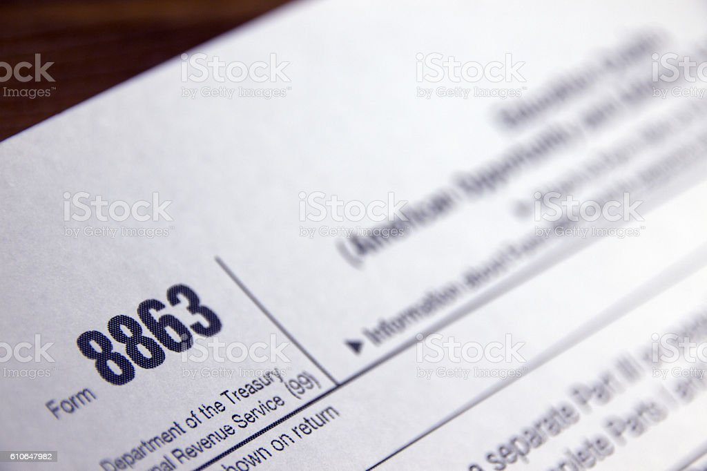 education credits tax form 8863 stock photo | istock
