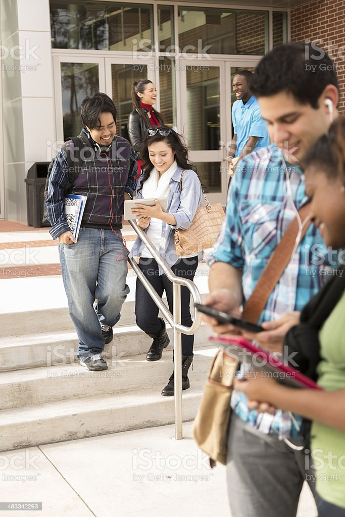 Multi-ethnic group of college studens studying and talking outside...