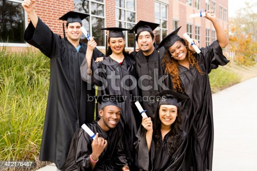 istock Education: Diverse group of friends excited after college graduation. Diplomas. 472176467