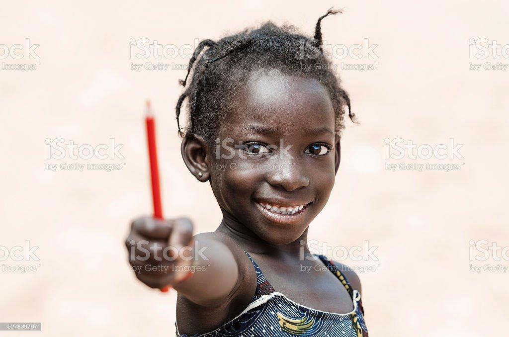 6e605e12f268 Bildung Für Afrika Süße Afrikanische Schulmädchenmit Bleistift ...