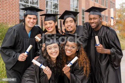 istock Education: Friends excited after college graduation. 465353461