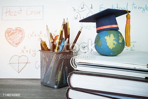959387240 istock photo Education Graduate study concept: Graduation hat on pencils with formula arithmetic equation graph on near global model at university classroom. Ideas for knowledge learning success, Back to School 1146240302