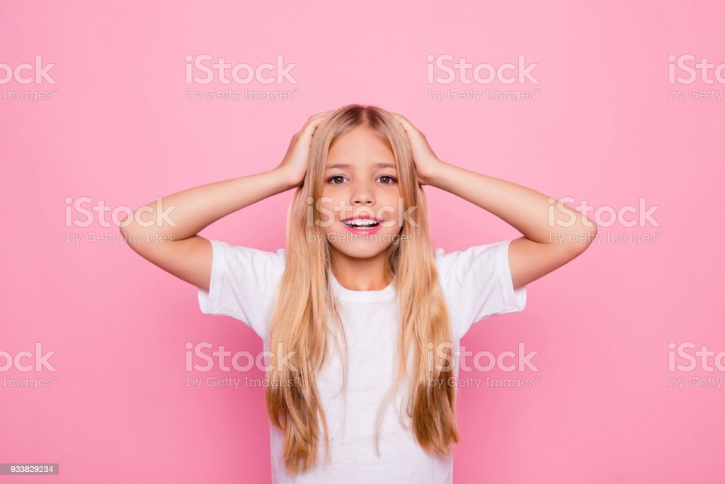 Education holiday elementary pre teens event party celebrate concept. Portrait of shocked charming beautiful cute sweet lovely tender gentle with long smooth straight hair isolated on pink background stock photo