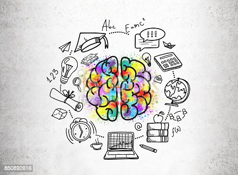 istock Education icons and a colorful brain sketch 850892616