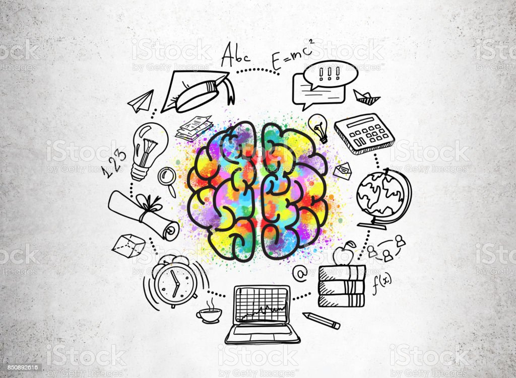 Education icons and a colorful brain sketch stock photo