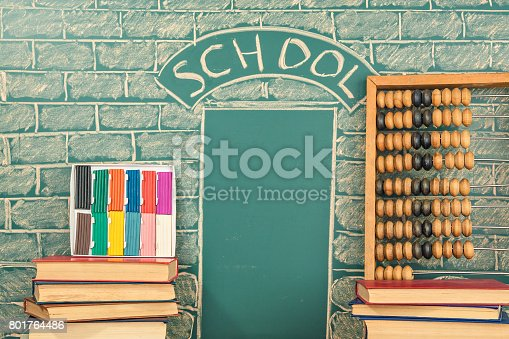istock Education idea with unusual school drawing, abacus and plasticine 801764486