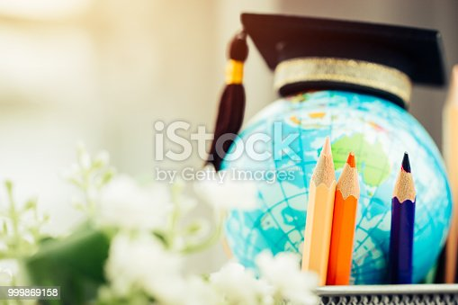 959387240 istock photo Education in Australia, Pencils box with Earth globe model map in basket. Concept for global business, communications, politics or save world environmental for learning world wide in online market. 999869158