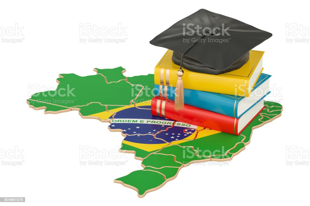 Education in Brazil concept, 3D rendering isolated on white background - fotografia de stock
