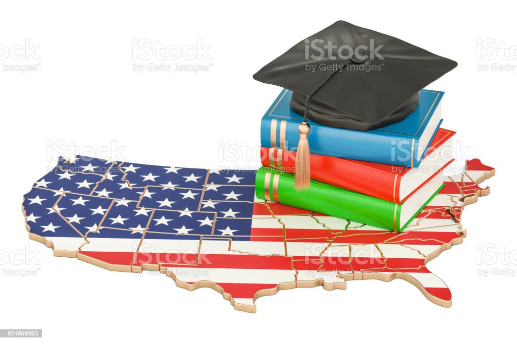 Education  in USA concept, 3D rendering isolated on white background royalty-free stock photo
