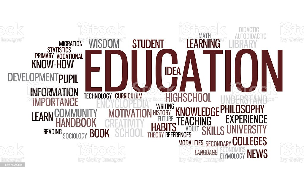 Education in world cloud on white background stock photo