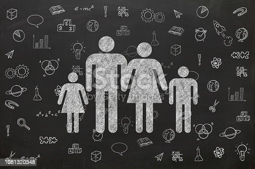 1069581886 istock photo Education learn science family blackboard drawing 1081320348