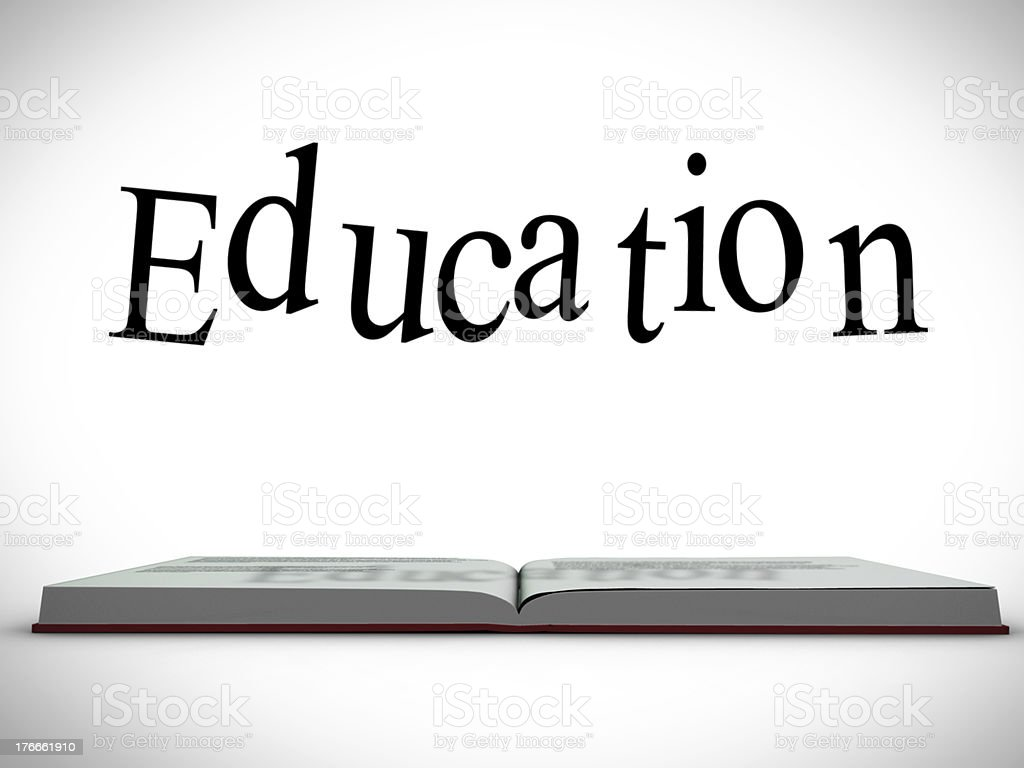 Education message above open book graphic royalty-free stock photo