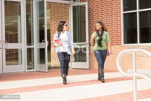 istock Education: Multi-ethnic group of college students talk on campus. 465522243