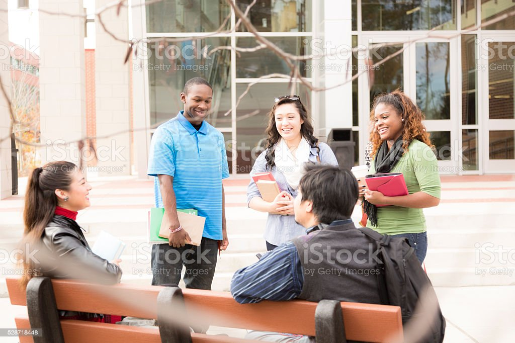 Diverse group of college students talk outside school building before...