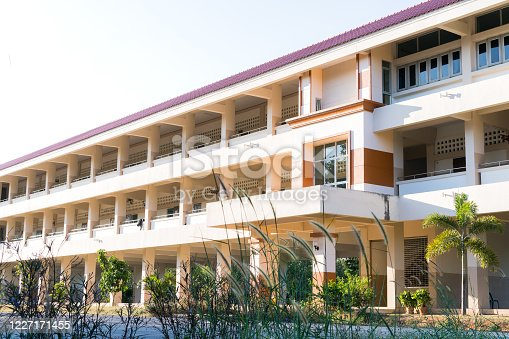 1045032684 istock photo Education of public high school building. View of secondary or primary school architecture with road in Thailand, Situation of Covid-19 disease outbreak resulted inability organize teaching learning 1227171455