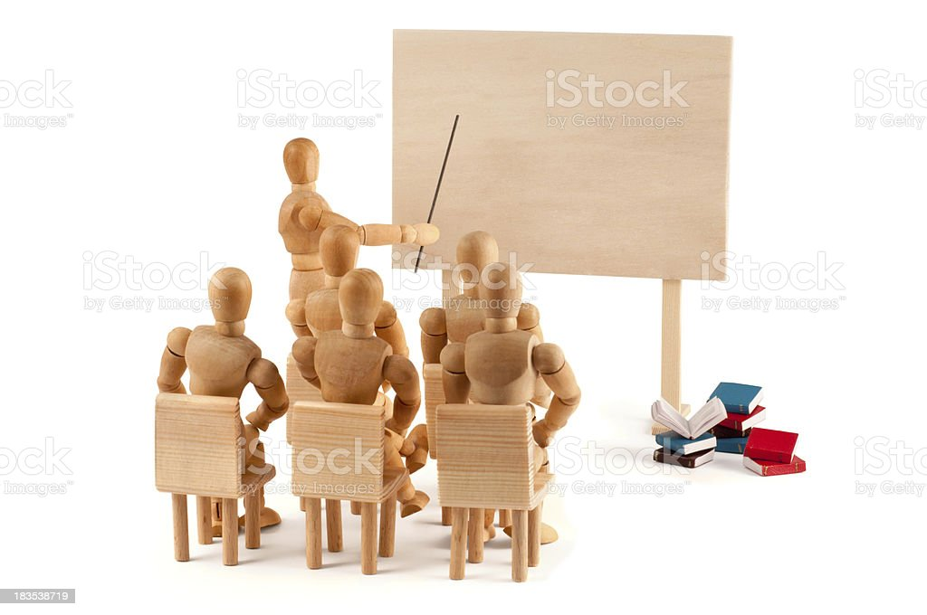 education of wooden mannequins - place for your text royalty-free stock photo