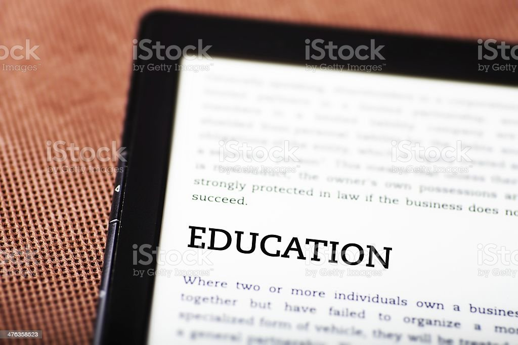 Education on ebook, tablet concept royalty-free stock photo
