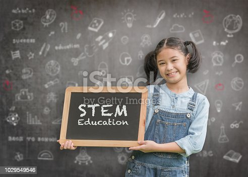 istock STEM Education on school teacher's classroom chalkboard with smart girl kid student holding blackboard for science, technology, engineering, mathematics educational learning system 1029549546
