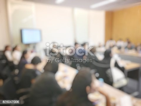 873776668 istock photo Education or Business concept of blurred image of people brandstorming and discussion during workshop and seminar in training room at university. 825047006